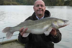 Greg Boothright with a 14lb Zander from Bury Hill Fisheries