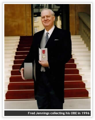 Fred jennings collects his OBE in 1996